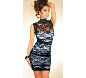 draped lace dress with high neck
