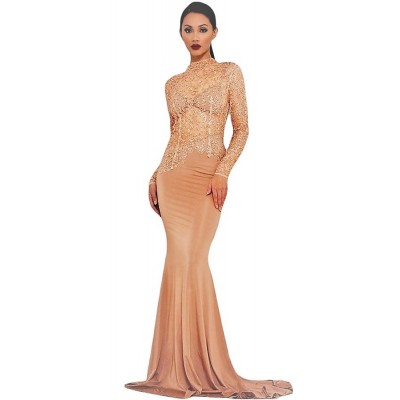'Aalaida' nude sequin gown with open back