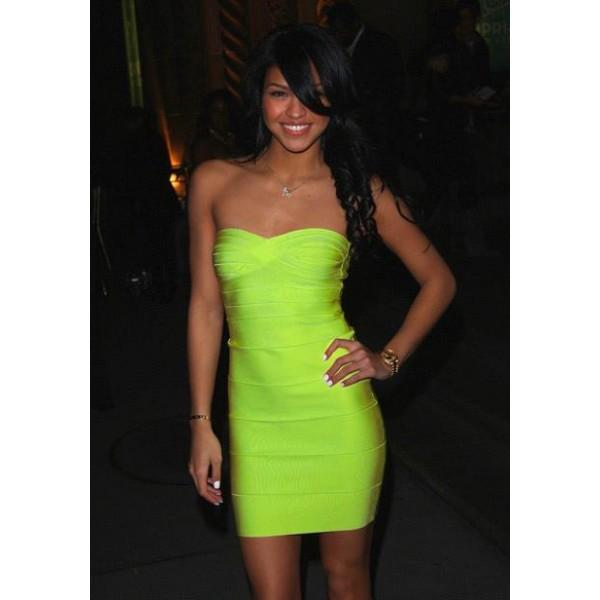 Lime green strapless bandage dress €8495