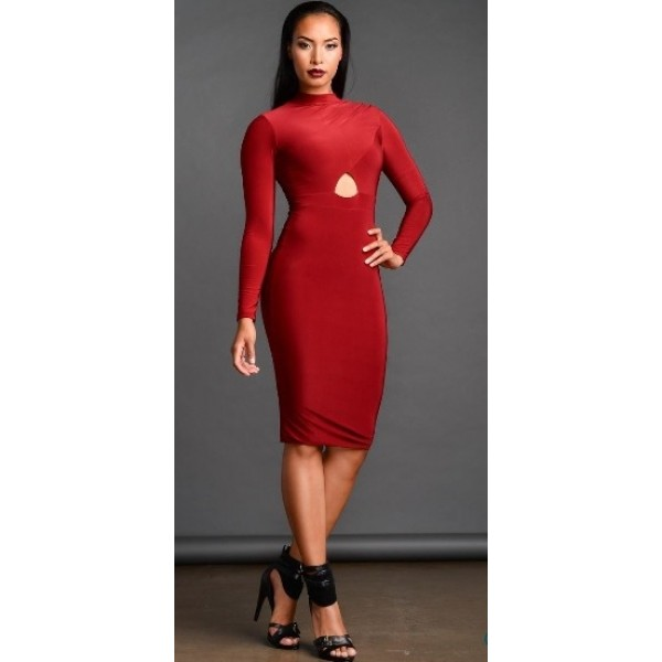 Long sleeves red knee-length burgundy bodycon dress