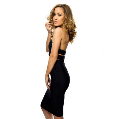 'Jenny' two piece black bandage dress