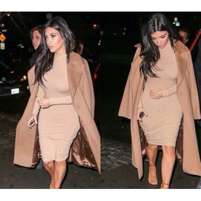 'Jade' nude over the knee length bodycon dress with turtleneck