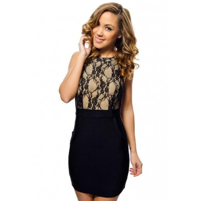 'Leona' black bandage dress with lace and open back