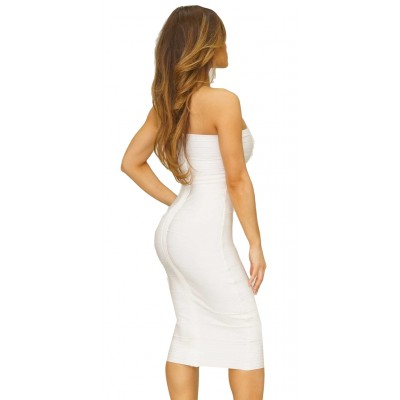 'Alissa' white strapless midi bandage dress