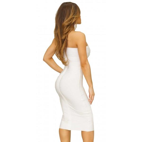 08702772e9d2d2 ...  Alissa  witte strapless over de knie lengte bandage jurk   ...