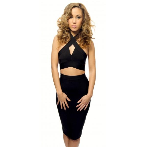 Wonderbaar Zwarte knielengte two piece bandage jurk met kokerrok & crop top IO-46