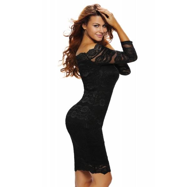 Lange zwarte kanten jurk
