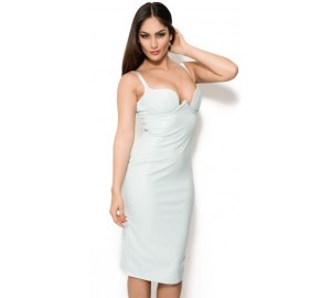 'Aaralyn' light blue sweetheart neck leather knee-length dress
