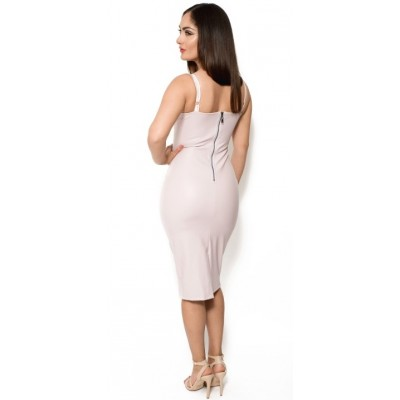 'Aaralyn' pink leather knee-length dress with deep V-neck