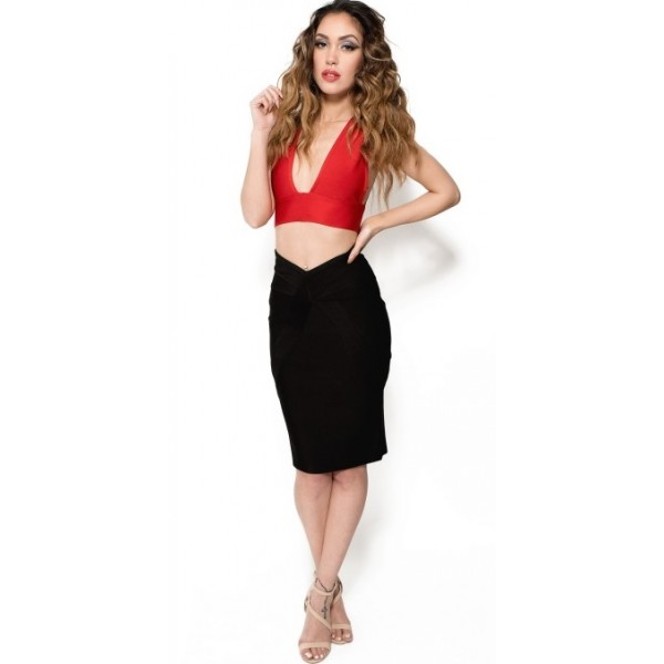 Zwart Rode Jurk.Two Piece Bandage Dress Black Red Tweedelige Zwart Rood Bandage
