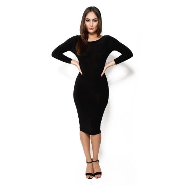 Zwarte midi jurk lange mouwen
