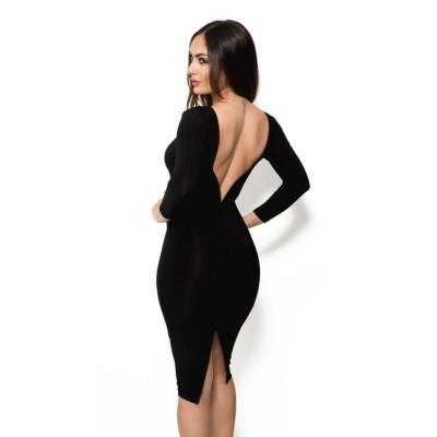 amarisa 39 schwarze midi kleid mit langen rmeln und offenem r cken. Black Bedroom Furniture Sets. Home Design Ideas