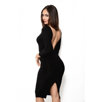 'Amarisa' black midi dress with long sleeves and open back