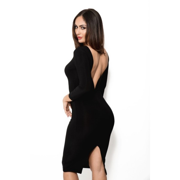 Black knee-length dress with long sleeves and open back