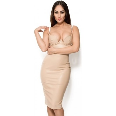 'Aaralyn' vegan leather nude midi dress with deep V-neck