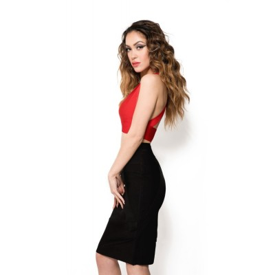 'Nourya' colorblock red & black two piece Bandage Dress