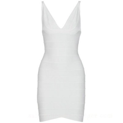Ari v-neck white bandage dress