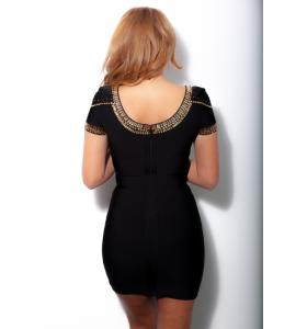 'Sass' black/gold bandage dress