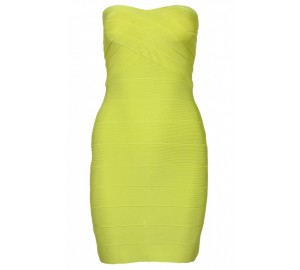 Lime green strapless bandage dress