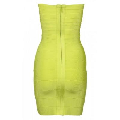 Lime green strapless bandage dress