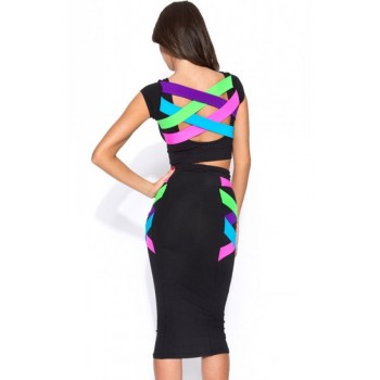 'Neyla' backless strappy two piece midi dress