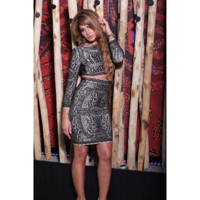 'Lisa' jungle print 2 piece bandage dress