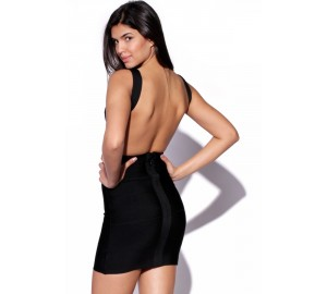 'Christina' Black backless bandage dress