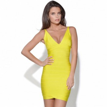 Ari v-neck yellow bandage dress