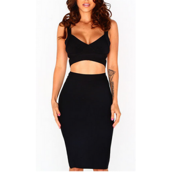 'Kayla' two piece black bandage dress