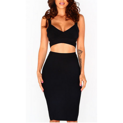 Uitgelezene 2 piece black dress met pencil rok & crop top RH-87