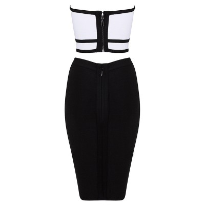 'Lena' two piece black/white bandage dress