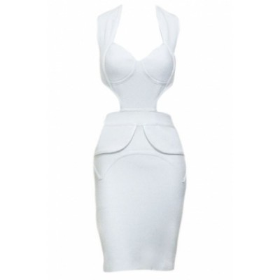 'Cassandra' white plunging cut out bandage dress