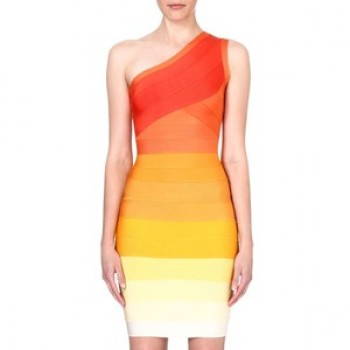 'Kenza' off shoulder orange bandage dress