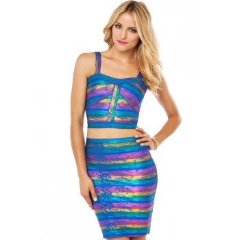 'Noury' rainbow 2 piece bandage dress