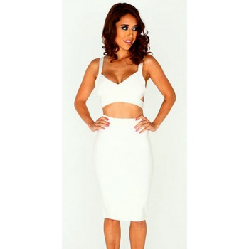 'Kayla' two piece white bandage dress