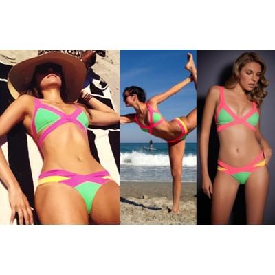 'Sara' pink & green  neon bandage bikini