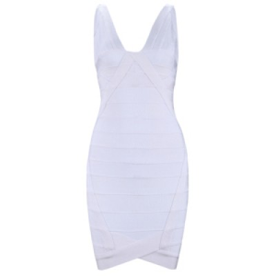 Ari v-neck white bandage dress