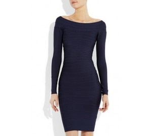 ' Amber' Blue boatneck dress with long sleeves
