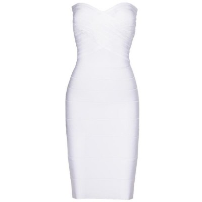 white strapless bandage dress