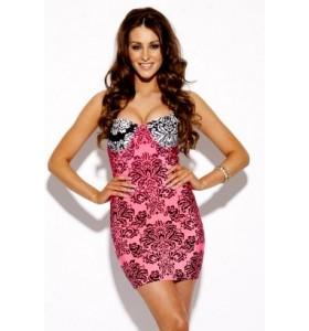 'Nina'  barok roze print bodycon  bandage jurk