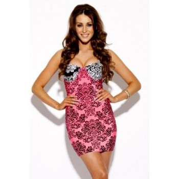 'Nina'  baroque print pink bodycon bandage dress