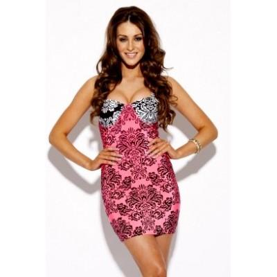 'Nina'  baroque print pink bodycon bandage dress