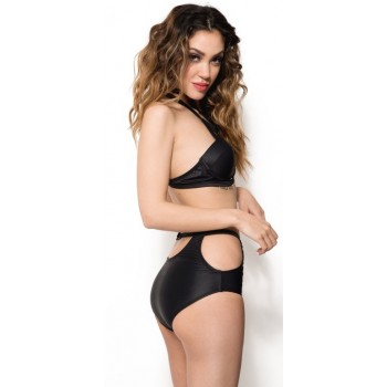 'Adaline' black caged high-waisted bikini
