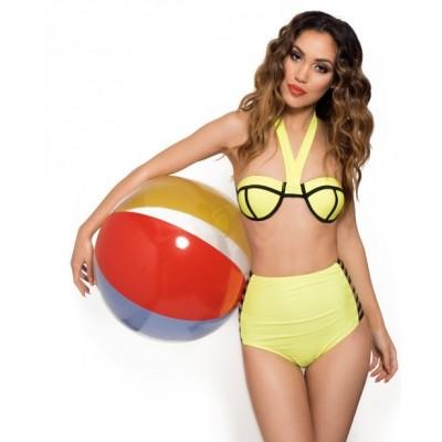 'Ava' neon yellow high waisted bikini