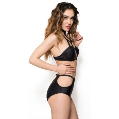 'Adaline' black caged high-waisted bikini