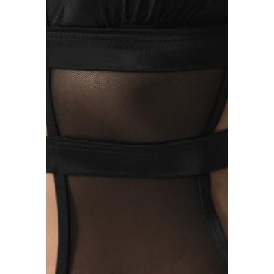 'Aglaya' black one piece bikini with cut outs & mesh