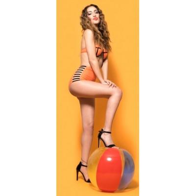 'Ava' neon orange high waist bikini