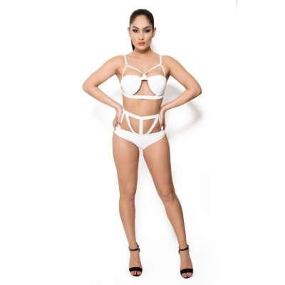 'Carolina' white caged bikini
