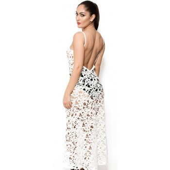 'Chloe' crochet white beach dress with open back