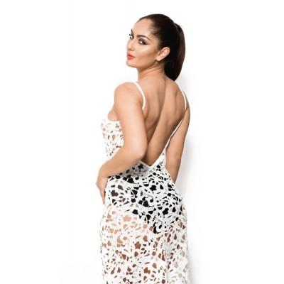 'Chloe' crochet white beach dress with open back